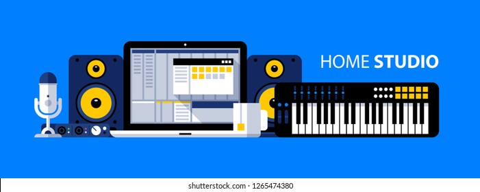 Home studio illustration. Laptop with DAW, synthesizer, studio monitors, microphone. Recording, arranging, mixing.
