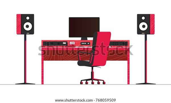 Home Studio Monitors Desk Small Mixing Stock Vector (Royalty