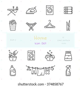 Home stuff outline icon set of 15 thin modern and stylish icons. Part 6 - laundry stuff. Dark line version. EPS 10. Pixel perfect icons.