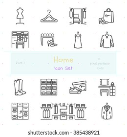 Home stuff outline icon set of 15 thin modern and stylish icons. Part 7 - dressing room stuff and furniture. Dark line version. EPS 10. Pixel perfect icons.