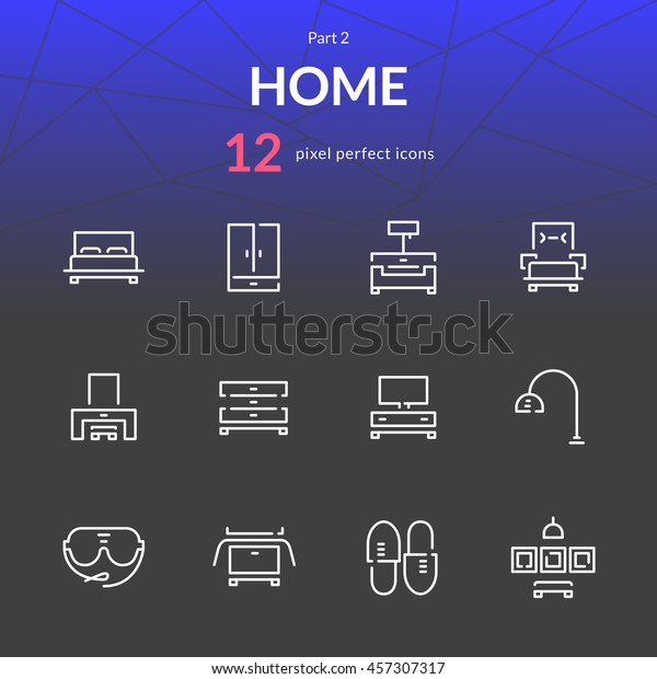 Home Stuff Outline Icon Set 12 Stock Vector (Royalty Free