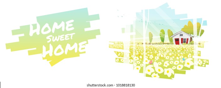 Home Sweet Home , Beautiful rural landscape and a small house background , vector , illustration
