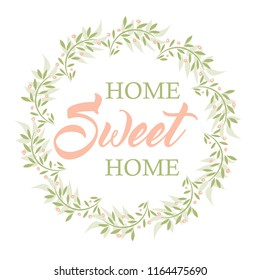 Home Sweet Home Beautiful Vector Home Decoration Floral Wreath