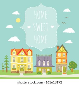 Home sweet home - card with lovely vintage  houses