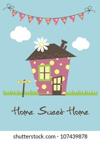 home sweet home card. vector illustration