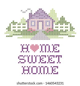 Home Sweet Home Cross Stitch Embroidery design, pastel colors, big heart, needlework house, picket fence in landscape graphic, isolated on white background.
