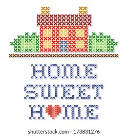 Home Sweet Home Embroidery, cross stitch, retro sewing needle craft design, home with a big red heart, needlework house in landscape graphic, isolated on white background. EPS8 compatible.