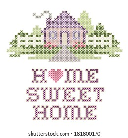 Home Sweet Home Embroidery, Cross Stitch design in pastel colors, needlework heart, house, picket fence in landscape graphic, isolated on white background. EPS8 compatible.