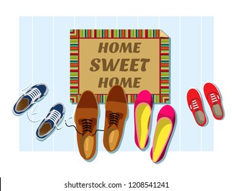 Home sweet home. The entrance to the house. Entrance mat in front of the door with shoes. Vector illustration rectangular doormat with shoes view top. Flat style. Isolated on white background