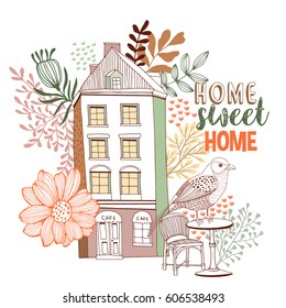 Home sweet home  with Floral Background