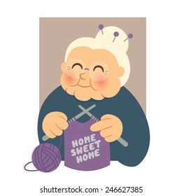 Home Sweet Home Granny Knitting Person