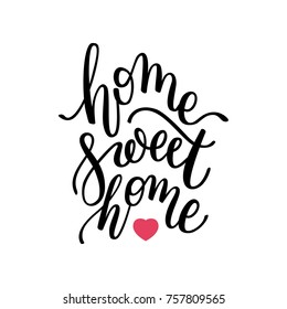 home Sweet home hand lettering. Template for card, poster, print.
