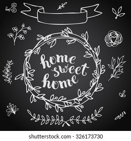Home sweet home, handmade calligraphy, vector illustration. For housewarming posters, greeting cards, home decorations.