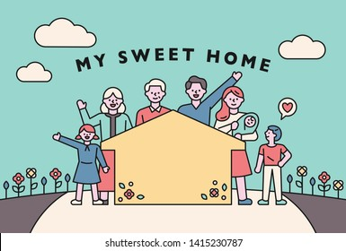 home sweet home happy family card. flat design style minimal vector illustration