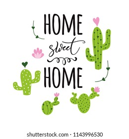 Home sweet hom banner Prickly cactus with heart and inspirational quote on white background Cute hand drawn greeting cards poster logo sign print label symbol Vector illustration Home decor.