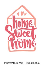 Home Sweet Home lettering written with cursive calligraphic font inside house outline and decorated with hearts. Elegant inscription handwritten on white background. Colored vector illustration
