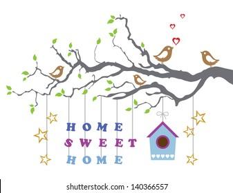 Home sweet home moving-in new house greeting card. This image is a vector illustration.