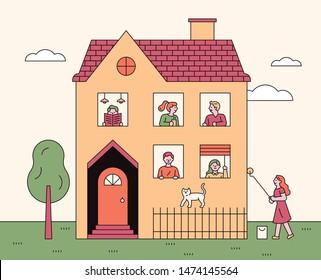 home sweet home. neighbors in window. flat design style minimal vector illustration.