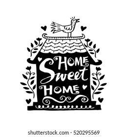 Home sweet home postcard. Hand drawing illustration.