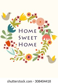 Home sweet home poster. EPS 8 file. Vector illustration. Home decor element.