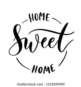 Home sweet home -  round stamp  inscription hand lettering vector.Typography design. Greetings card.