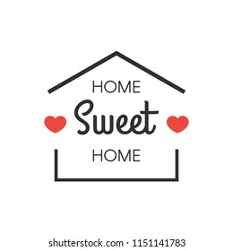 Home sweet sign house with hearts. Vector illustration isolated on white background for greeting cards, housewarming posters, home decorations