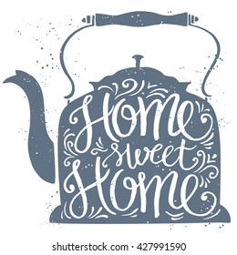 Home sweet home typographic poster, vector illustration