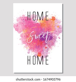 Home Sweet Home typography poster, inspirational quote art print