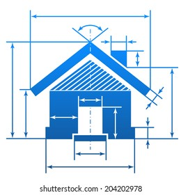 Home symbol with dimension lines. Element of blueprint drawing in shape of house sign. Vector illustration about architecture, building, real estate, construction, development, housing, etc