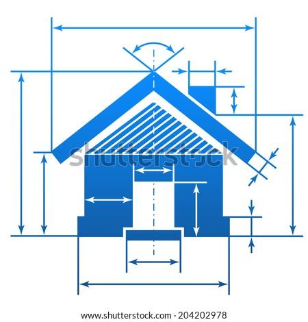 Home Symbol Dimension Lines Element Blueprint Stock Vector Royalty