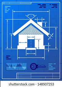 Home symbol like blueprint drawing. Stylized drawing of house sign on blueprint paper. Qualitative vector picture about architecture, building, real estate, construction, development, housing, etc