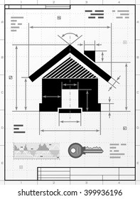 Home symbol as technical drawing. Stylized drafting of house sign with title block. Qualitative vector illustration about architecture, building, real estate, construction, development, housing, etc