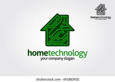Home Technology logo template. This logo is suitable for chip, home, technology, science, it, electronics, software, digital, engineering, house plan, building, property, real estate related logos.