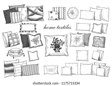 Home textiles. A collection of various pillows. Hand-drawn vector illustration in vintage style. Isolated interior elements. Sketch.