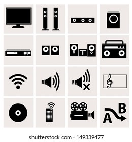 Home theater icons with White Background