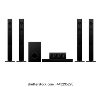 Home theater isolated on white background vector illustration
