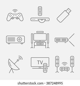 Home theater line icons. House technology