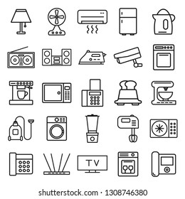 home things. minimal thin line web icon set. simple vector illustration outline. concept for infographic, website or app.