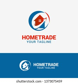 Home Trade Logo template element symbol in red blue color