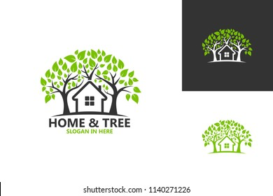 Home And Tree Nature Logo Template Design Vector, Emblem, Design Concept, Creative Symbol, Icon