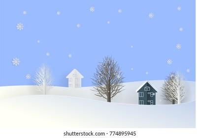 Home and Tree in white snow in paper cut style