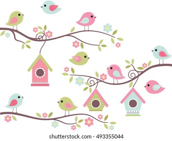 Home Tweet Home / Cute Birds on Branches with Birdhouses