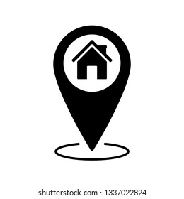 home vector icon;  black map pointer with house icon