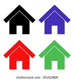 home vector icon - colored set