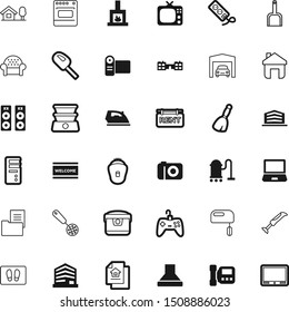 home vector icon set such as: educate, control, gaming, burn, couch, speaker, power, perspective, fireplace, nature, outline, plug, transportation, connect, ice, diet, laptop, curve, joypad, cinema