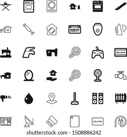 home vector icon set such as: gamepad, clothing, ironing, clothes, living, navigation, retro, temperature, global, investment, sew, hold, mark, bubble, traditional, plan, memory, ventilator, antenna