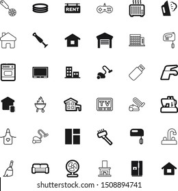 home vector icon set such as: cleanup, comfortable, board, architectural, inflatable, textile, open, gaming, oven, propeller, grilled, console, keypad, shopping, burning, commercial, holiday, antenna