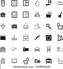 home vector icon set such as: hairdryer, printout, wireless, measurement, fences, steam, outdoors, christmas, cartoon, hardware, cooker, mixer, architectural, box, touch, classic, dryer, stylish