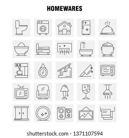 Home wares Line Icons Set For Infographics, Mobile UX/UI Kit And Print Design. Include: Appliances, Home, Home Ware, House, Pan, Bathroom, Furniture, Icon Set - Vector