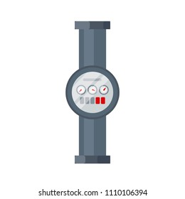 Home water meter icon, part of tube and pipeline isolated on white background. Flat element of water tubing, sanitary equipment. Vector illustration in flat style.